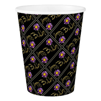 Happy Birthday Lilac Aster Paper Cup
