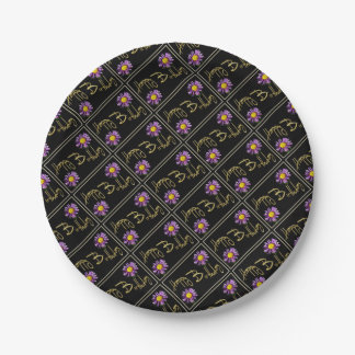 Happy Birthday Lilac Aster Paper Plate