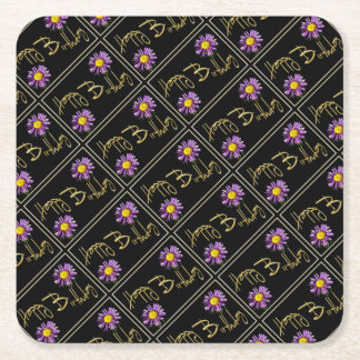 Happy Birthday Lilac Aster Square Paper Coaster
