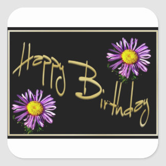 Happy Birthday Lilac Aster Square Sticker