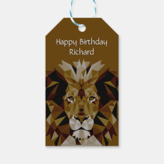 Happy Birthday Lion Double Line Text Gift Tags