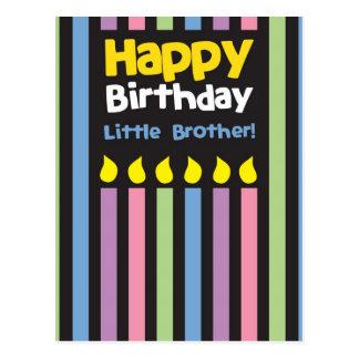 Happy Birthday little Brother stripey Postcard