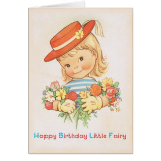 Happy Birthday Little Fairy - Vintage Birthday Card