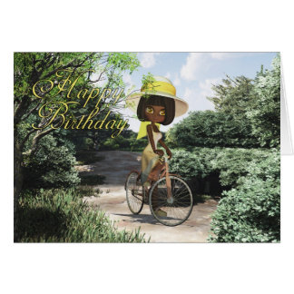 Happy Birthday Little Girl on Footpath Riding a bi Card