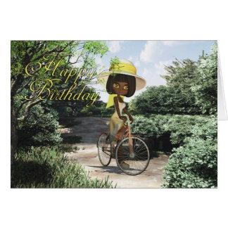 Happy Birthday Little Girl on Footpath Riding a bi Greeting Card