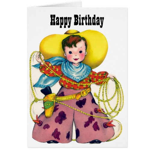 Happy Birthday - Little Roping Cowboy Greeting Cards