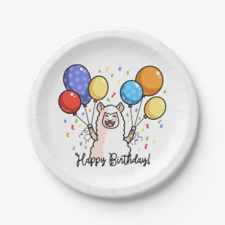 Happy Birthday Llama Paper Plate