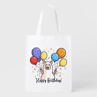 Happy Birthday Llama Reusable Grocery Bag