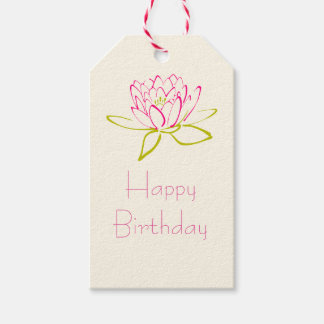 Happy Birthday Lotus Flower / Water Lily Pack Of Gift Tags