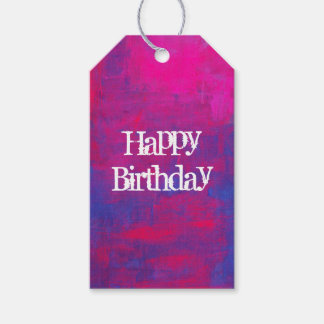 Happy Birthday Magenta and Blue Abstract Painting Gift Tags