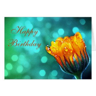 Happy Birthday Marigold on Teal Card
