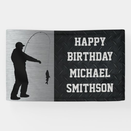 Happy Birthday Men's Fishing Banner