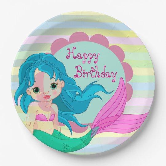 Happy Birthday Mermaid 9 Inch Paper Plate