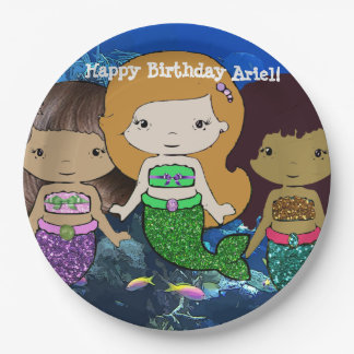 Happy Birthday Mermaid Plates 9 Inch Paper Plate