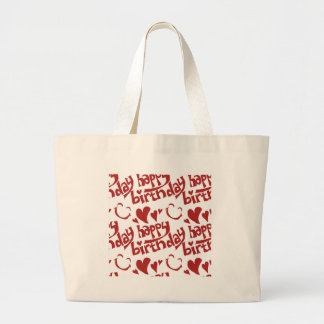 happy birthday message with heart smiling face large tote bag