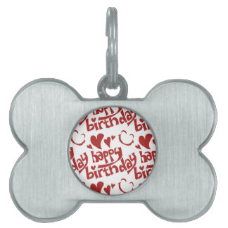 happy birthday message with heart smiling face pet name tags