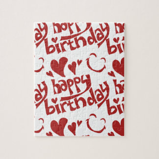 happy birthday message with heart smiling face puzzle