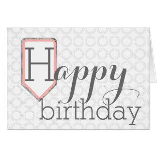 Happy Birthday | Mixed Font Grey Circle Stationary Card