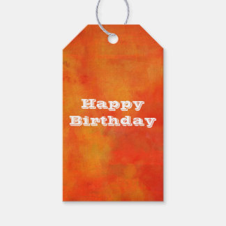 Happy Birthday Modern Abstract Painting in Orange Gift Tags