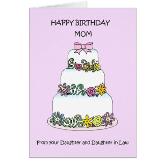 Happy Birthday Mom Daughter and Daughter in law Card