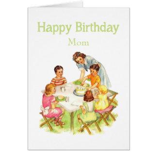 Happy Birthday Mom Fun Vintage Picnic Party Card