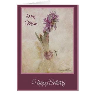 happy birthday  mom hyacinth and dragon fly card