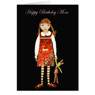Happy Birthday Mom, Little girl with toy rabbit Greeting Card