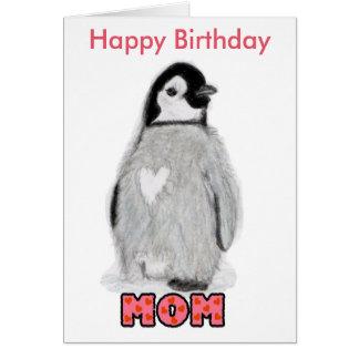 Happy Birthday Mom penguin Card unique.