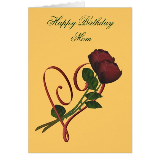 Happy Birthday Mom Red Roses Heart Card