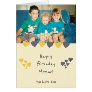 Happy Birthday Mommy orange gray photo Card