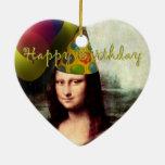 Happy Birthday Mona Lisa Ceramic Heart Ornament