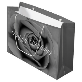 Happy Birthday Monochromatic Rose Gift Bag