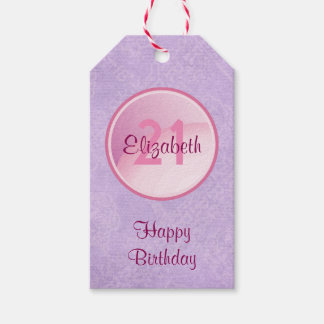 Happy Birthday Monogram with Name and Age Pack Of Gift Tags