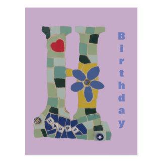 Happy Birthday Mosaic Vertical Cust. Postcard