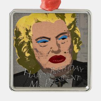 Happy Birthday Mr. President Silver-Colored Square Ornament