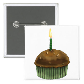 Happy Birthday Muffin 2 Inch Square Button