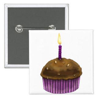 Happy Birthday Muffin 2 Inch Square Button