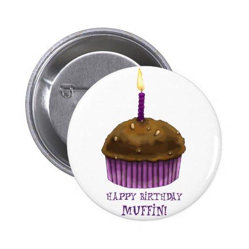Happy Birthday Muffin Pinback Button