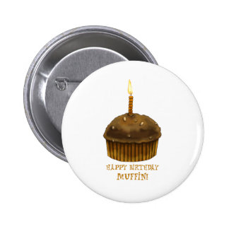 Happy Birthday Muffin Pinback Buttons