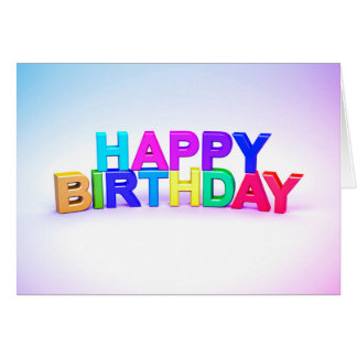 Happy Birthday multicolored 3D letter Card