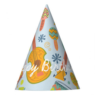 Happy Birthday. Musical Instruments. Party Hat