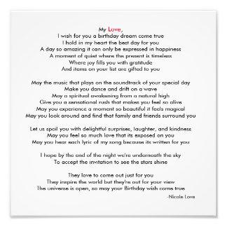 Happy Birthday My Love Poem Picture Photo Print