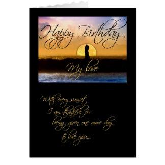 Happy Birthday My Love Sunset Couple Card