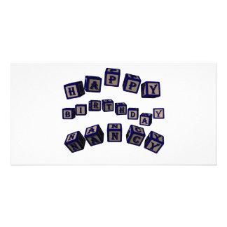 Happy Birthday Nancy toy blocks in blue. Greanancy Customized Photo Card