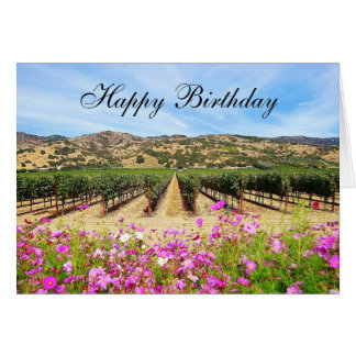 Happy Birthday Napa Valley Vineyard Card