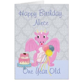 Happy Birthday Niece, Cute Pink Dragon Cartoon Card
