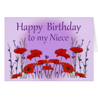 Happy Birthday Niece, Field of Poppies Card