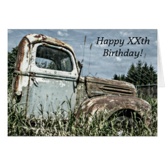 Happy Birthday - Old Antique Beater Truck in Grass Card