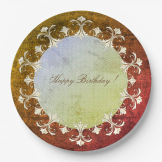 Happy-Birthday-OLD-Elegance-Wreath-Damask Paper Plate