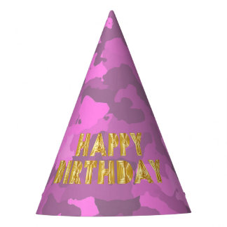 Happy Birthday on Pink Camo Party Hat